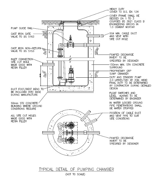MEP Specification drawing for Mechanical Pumping chanmber typical installation details