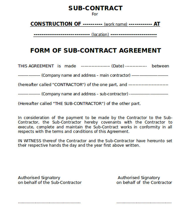 Sub-contract Agreement Form